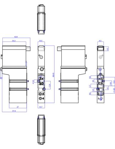 204710 2x3 2 way pneum valve 10mm 3 2 way valves pneumatic